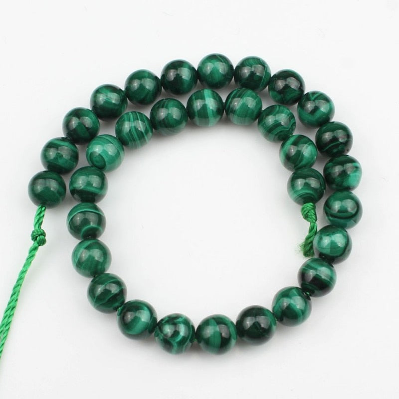 Malachite Round  Beads Fit DIY 6 8 10 12 mm 7.5inch