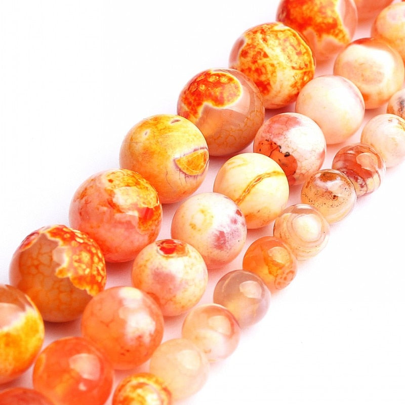 Orange Fire Dragon Agates Round Loose Spacer Beads 15''  6  8  10mm