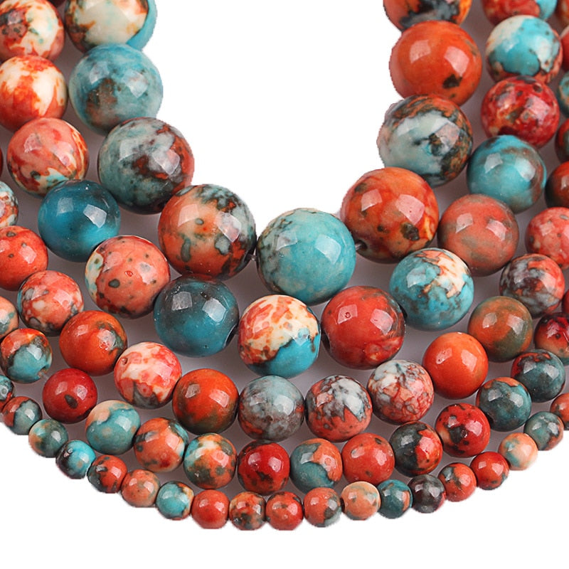 Clay Red and Blue Mix Ceramic Stone Round Beads 4 6 8 10 12mm