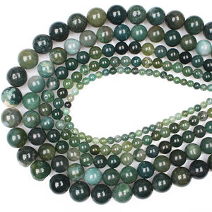 Moss Agates Round Loose Beads 15' Strand 4 6 8 10 12 14 MM