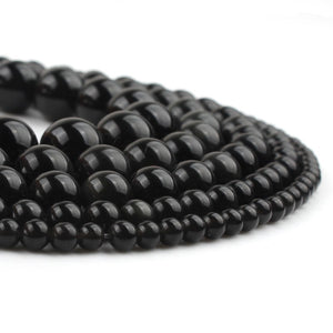Black Obsidian Round Beads 4 6 8 10 12 mm 15 inch