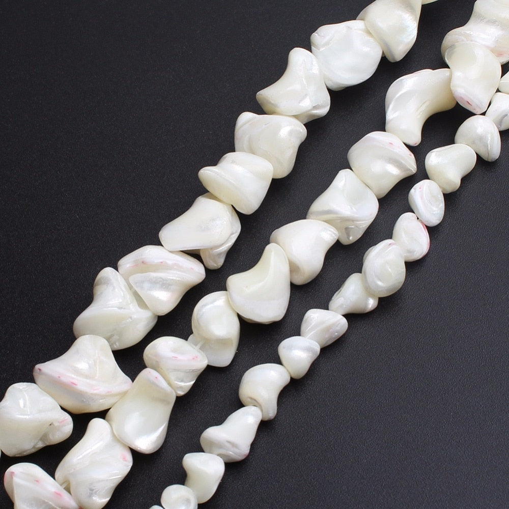 Irregular White Mother Of Pearl Mop Shell Beads 7-16mm 15inches
