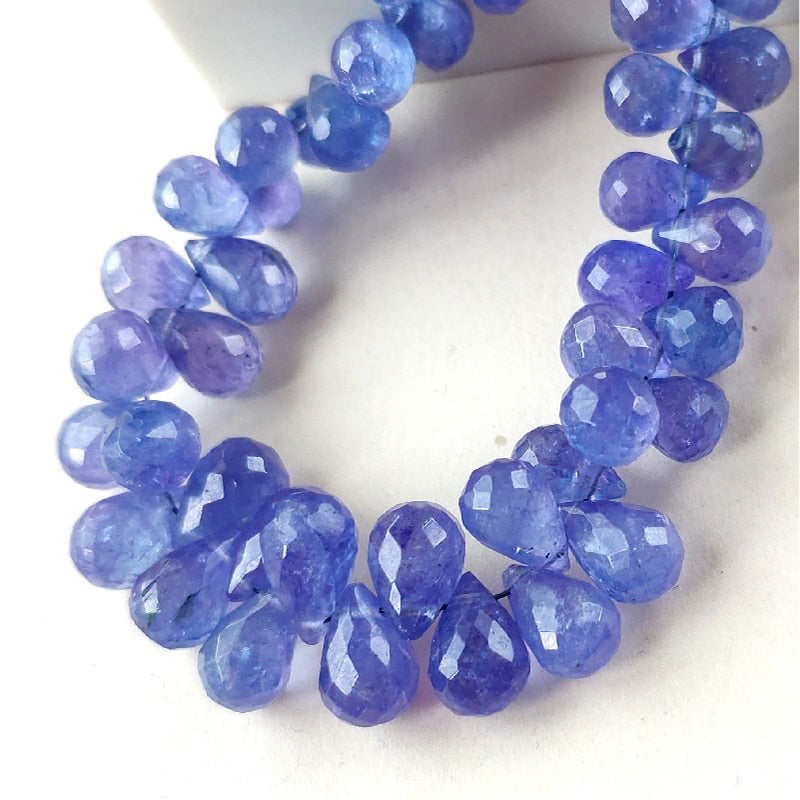 5 piece Tanzanite  Faceted  6mm Beads Waterdrop Shape