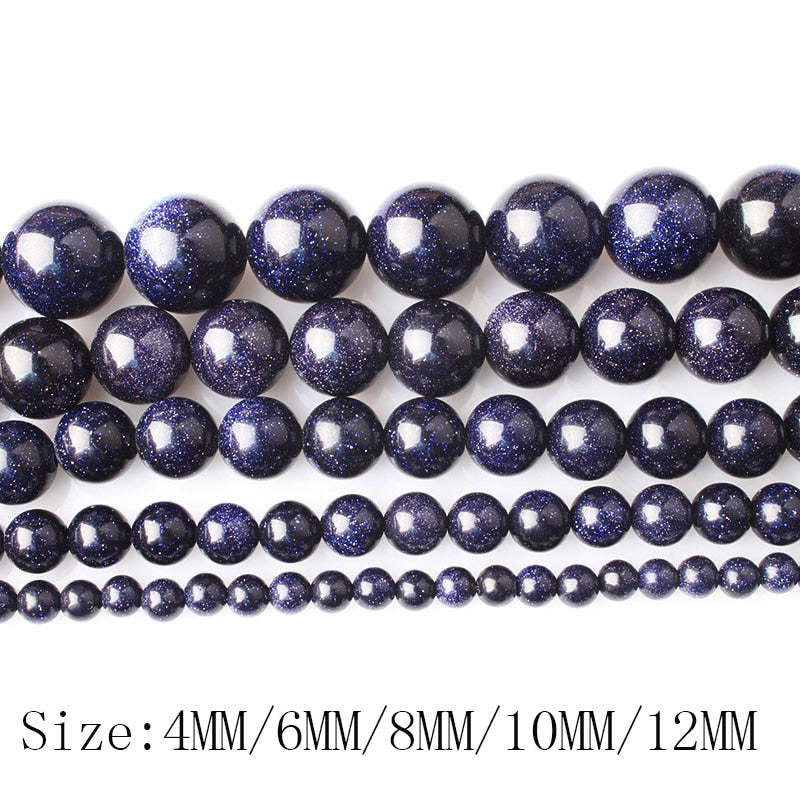 Gold and Blue Sand Stone 4 6 8 10 12mm Round Loose Beads
