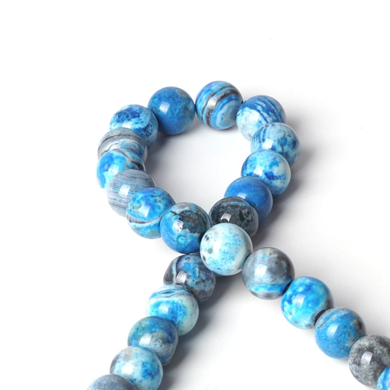 Gorgeous Blue Stripe Agate Round Beads 6-10mm
