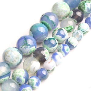 Natural Green Blue Fire Agate For Jewelry Making Necklace Round Loose Stone Beads Gemstone 6 8 10mm Diy Bracelet Necklace