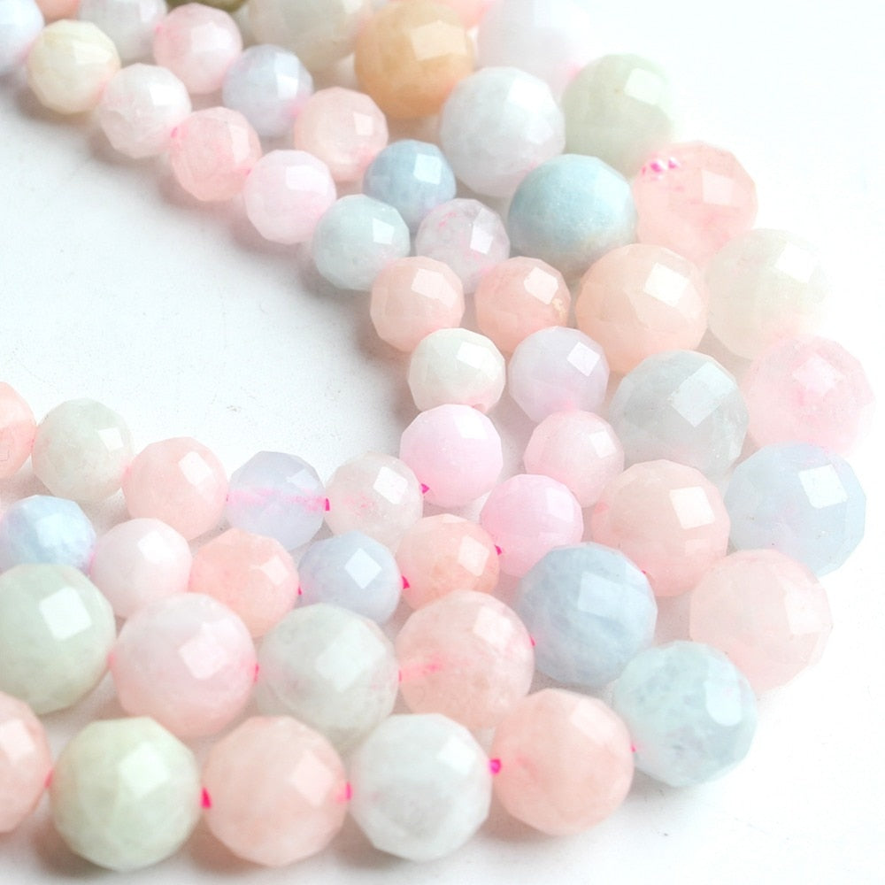 Size 6/8mm 7.5''  Faceted Morganite Beads
