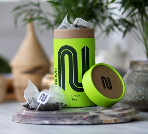 Nemi tea bags and container in bright green