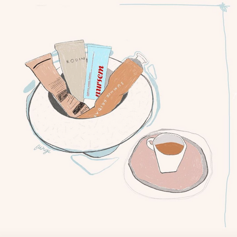 drawing of skincare products