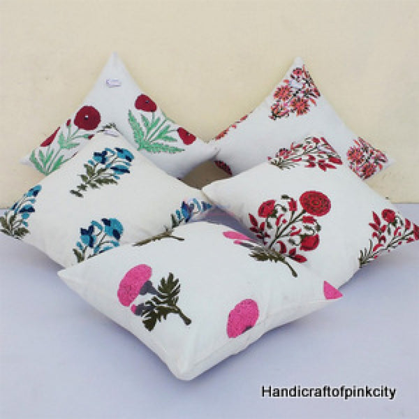 5 Pcs Set Of Cushion Cover Pure Cotton Hand Block Print Pillow Case 16×16 Inches Size SSTHCC02