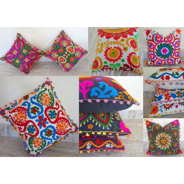 Suzani Embroidered Cushion Cover Lot