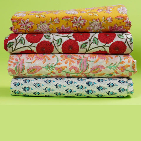 Hand Block Print Multi Color Fabric Pour Cotton
