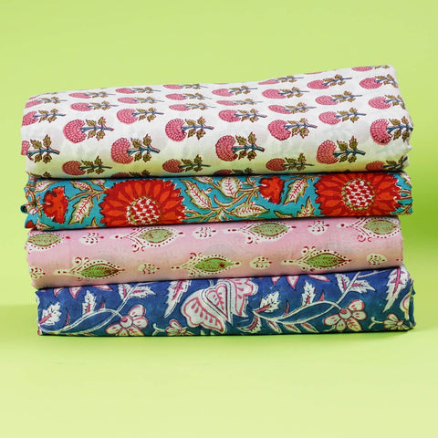 Hand Block Print Fabric Pour Cotton Multi Color Fabric