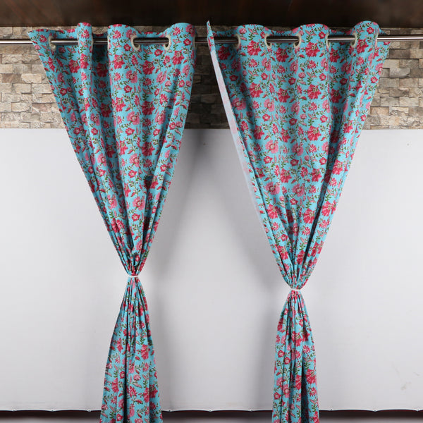7ft Hand Block Print Curtains for windows