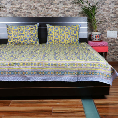 Bed Sheet Yellow Bed Sheet With Blue Flower Print Bed Cover