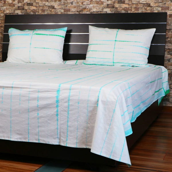 Doubl Shibori Bed Cover Throw Bohemian Bedspread Handmade Bed Sheet With Pillows SSTHSB06