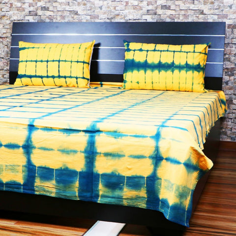 Doubl Shibori Bed Cover Throw Bohemian Bedspread Handmade Bed Sheet With Pillows SSTHSB05