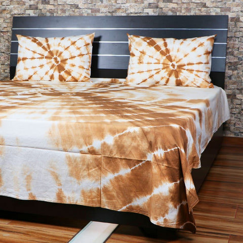 Doubl Shibori Bed Cover Throw Bohemian Bedspread Handmade Bed Sheet With Pillows SSTHSB08