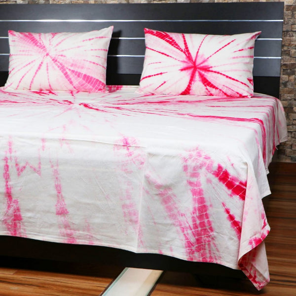 Doubl Shibori Bed Cover Throw Bohemian Bedspread Handmade Bed Sheet With Pillows SSTHSB0589