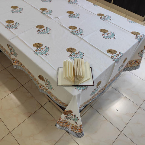 Cotton six seater block print table cover