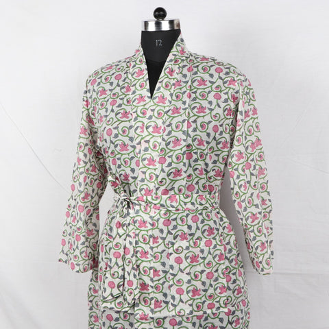 Pure Cotton Women Bathrob  in Hand Block Print002BG