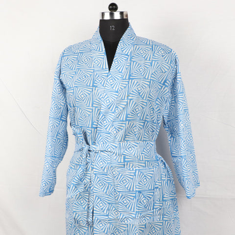 Pure Cotton Women Bathrob  in light blue color002BG