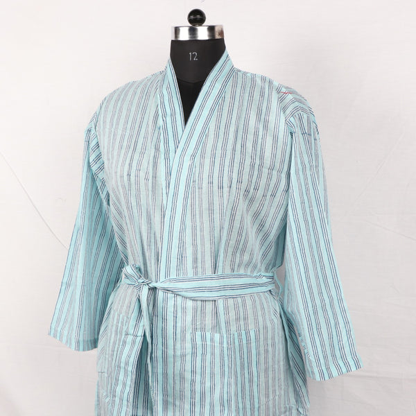 Custom Pure Cotton Women Bathrob  in Hand Block Print002BG