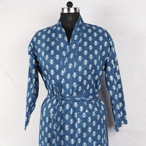 Indigo Print Pure Cotton Bathrob  in Hand Block Print002BG