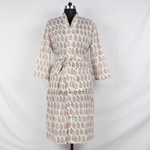 Winter Pure Cotton Bathrob  in Hand Block Print002BG