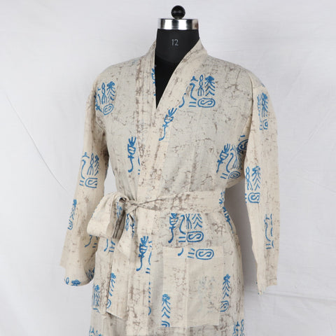 Satin Pure Cotton Bathrob  in Hand Block Print002BG