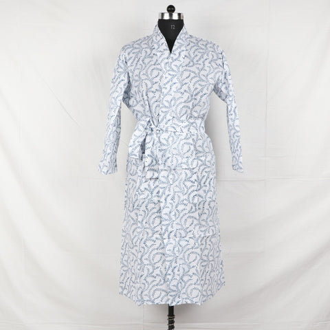 White-Blue Designer Pure Cotton Bathrob  in Hand Block Print002BG