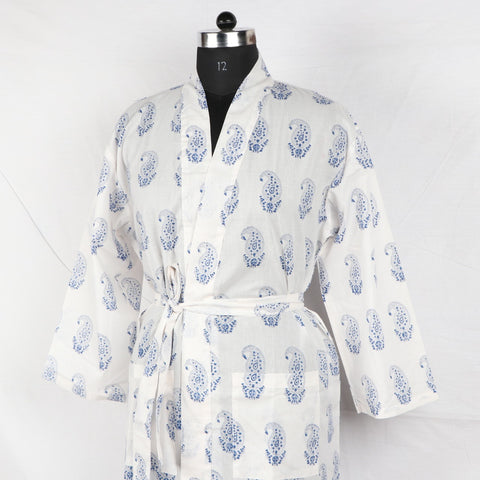 White Designer Pure Cotton Bathrob  in Hand Block Print002BG