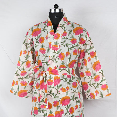 Flower Print Pure Cotton Designer Bathrob  in Hand Block Print002BG