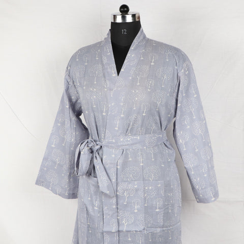 Chenille Pure Cotton Designer Bathrob  in Hand Block Print002BG