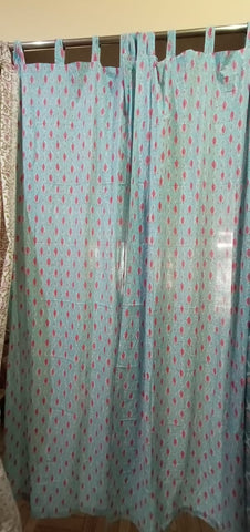 Floral Twill Curtains in Hand Block Print002BG