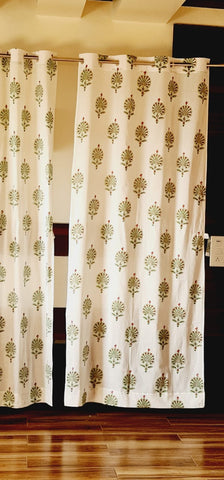 Unique Cotton Room Curtains in Hand Block Print002BG