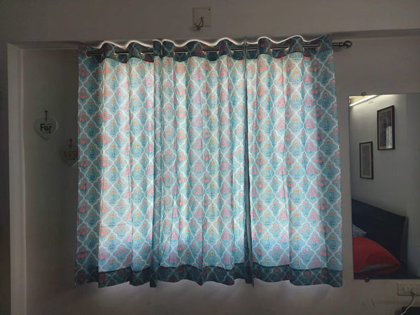 Ozee Form Printed Curtains in Hand Block Print002BG