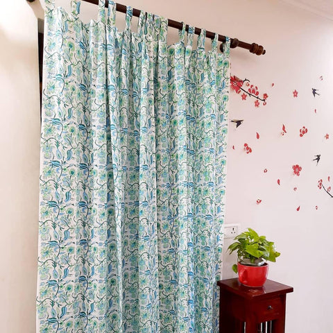 Textile Printed Curtains in Hand Block Print002BG