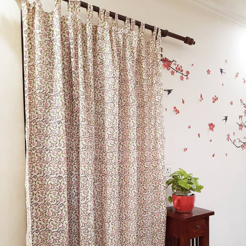 Printed Fabric Cotton Curtains in Hand Block Print002BG