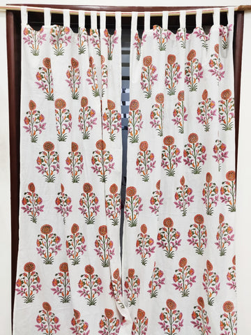 Organic Cotton Curtains in Hand Block Print002BG