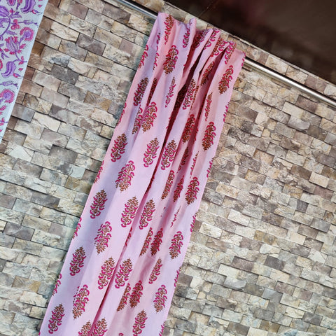 Unique Pinkish  Design Curtains in Hand Block Print002BG