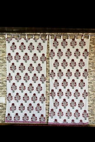 Flower Design Curtains in Hand Block Print002BG