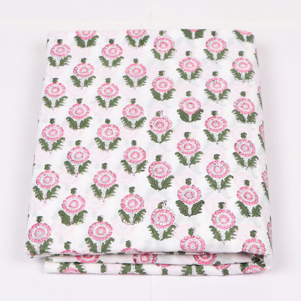 Flowery Cotton in Hand Block Print Garments Fabric002BG
