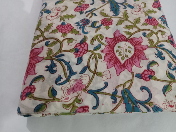 Flowerish Printing Cotton Hand Block Print Garments Fabric002BG