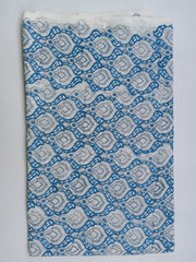 Bluish in Chinese Flower Cotton in Hand Block Print Garments Fabric002BG