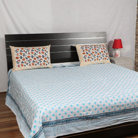 Dotted Kantha Bed Cover in Kantha Quilt