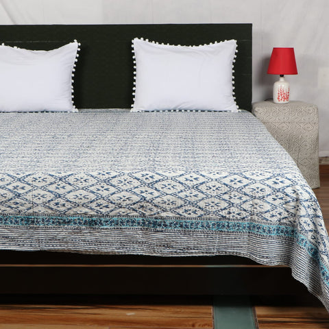 Ekkat Kantha Bed Cover in Kantha Quilt