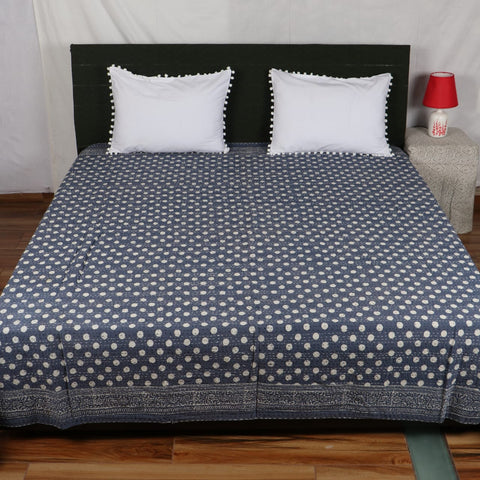 Black Royal Dotted Kantha Bed Cover in Kantha Quilt