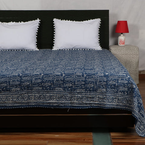 Black Royal Kantha Bed Cover in Kantha Quilt