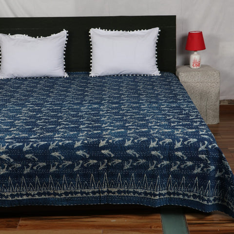 Fish Design Kantha Bed Cover in Kantha Quilt